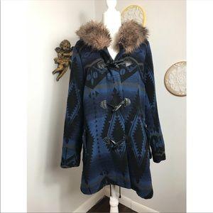 BB Dakota Native American print long coat w fur